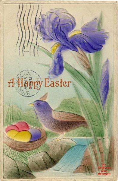Iris - 2139- A happy easter. Joyeuses Pâques. Surgaufrée. USA.  1911.