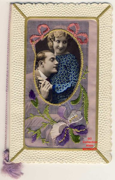 Iris -2078- Brodée. Art déco.Photo kitsch d'un couple. France. 1930.
