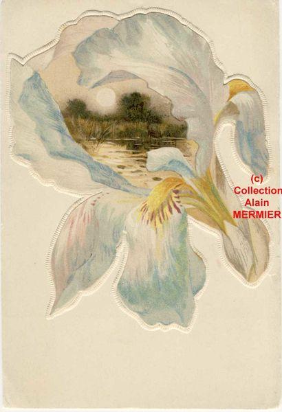 Iris - 2075- Gaufrée.Paysage dans un coeur d'iris blanc. France. Avant 1905.