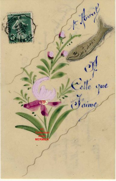 Iris -2071- Peint main : 1 avril. A celle que j'aime. France. 1908.