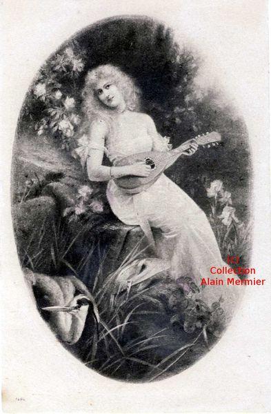 Iris -3476- Femme jouant de la mandoline. 1904.