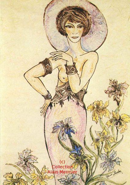 Iris -3623- Carte postale moderne. Diane FAIVRE : femme aux iris. France. 1981.