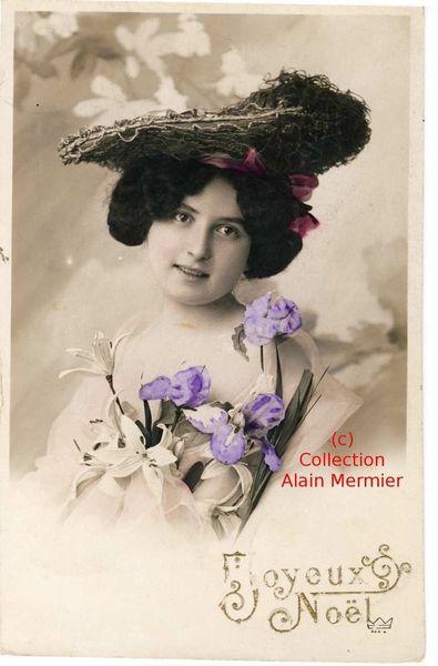 Iris -2430- Joyeux Noël. Femme au grand chapeau. France. 1908.