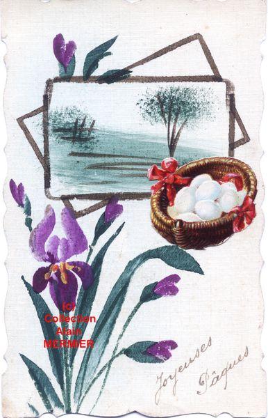 Iris -1885- Peinte main + montage d'une chromo panier d'oeufs de Pâques. France. 1918.