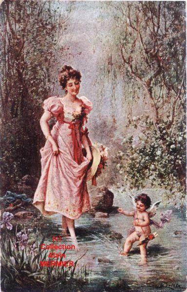 Iris -1823- Illustrateur Hans ZATZKA. Femme marchant dans l'eau + Cupidon.
