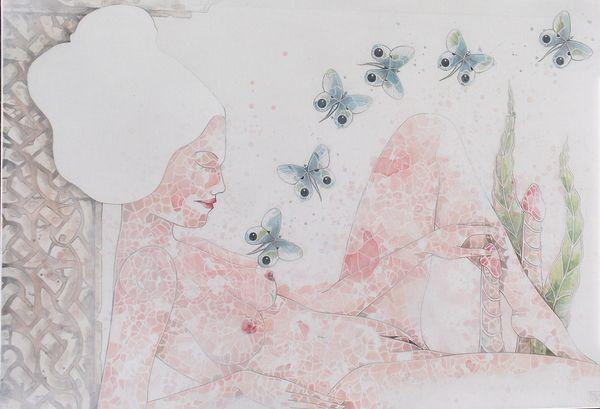 Glacis d'acrylique sur toile de lin