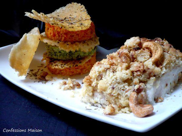 Dos de cabillaud en crumble de noix de cajou, mille-feuille brocolis/carotte/parmesan