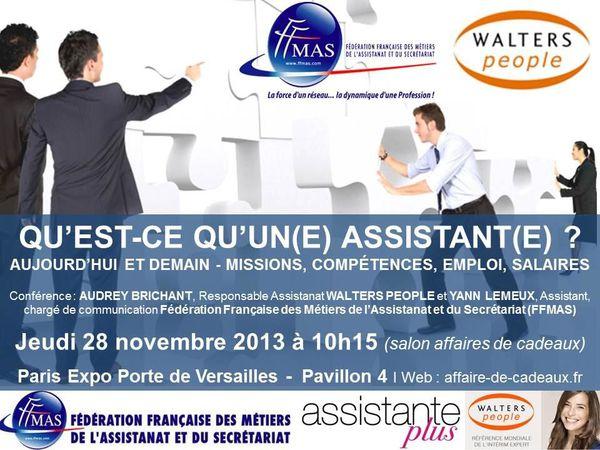 FFMAS PARIS et WALTERS PEOPLE font conférence commune : missions, emploi, compétences, salaires 28/11/13