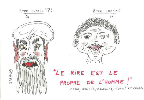 Hommage à Charlie Hebdo : &quot&#x3B;le rire est le propre de l'HOMME&quot&#x3B;