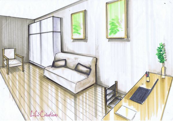Le blog de elise fossoux d coration architecture d for Chambre en perspective