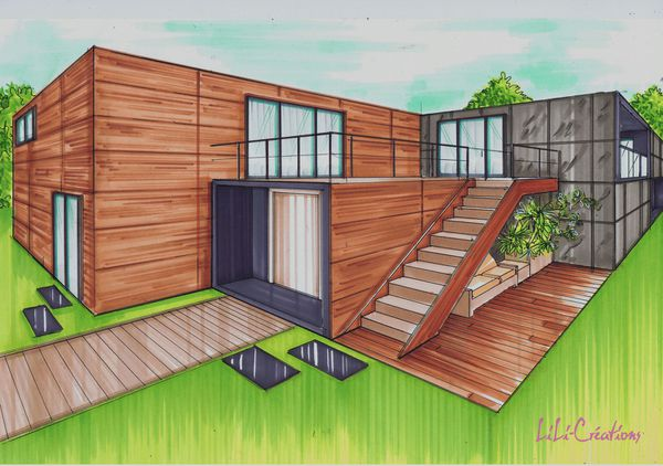 Maison container 175m le blog de elise fossoux for Plan conteneur