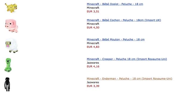 Peluches Minecraft à petits prix