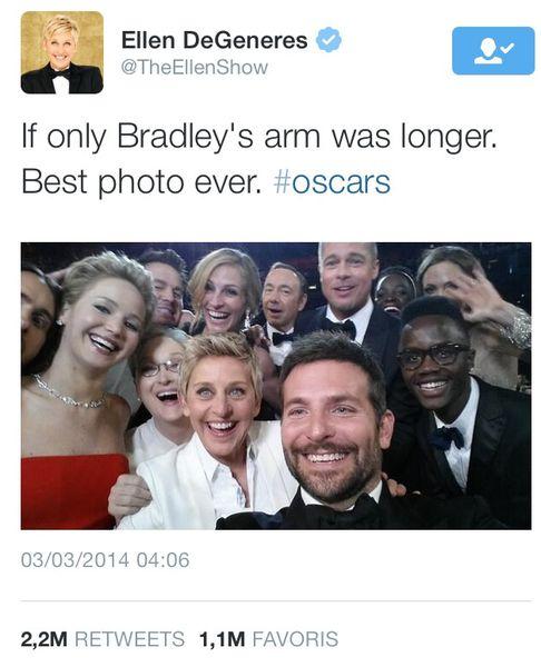Record : Voici le Tweet le plus retweeté de l'histoire #Oscar #Selfie