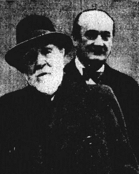 Maurice Renard (arrière-plan) et J.H. Rosny aîné. (document Fabrice Mundzik. jhrosny.overblog.com)