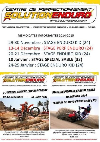 Dates des stages 2014-2015 avec Solution Enduro