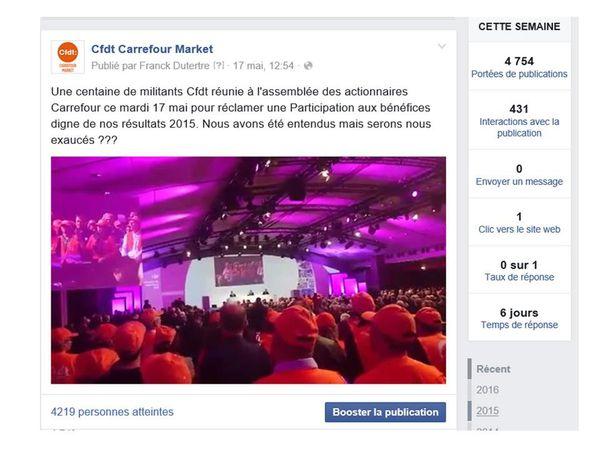 100 délégués CFDT du Groupe présents à l'A.G. Carrefour du 17 Mai.