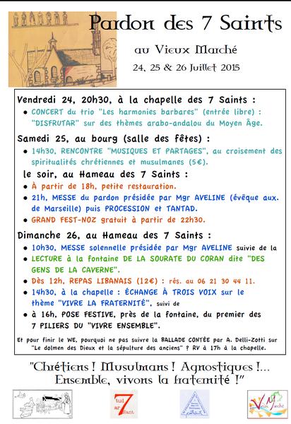 PÈLERINAGE ISLAMO-CHRÉTIEN DES SEPT SAINTS DORMANTS LES 24, 25 ET 26 JUILLET 2015 à VIEUX MARCHE
