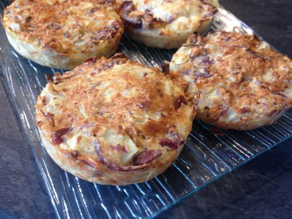 Minis quiches sans pâte aux lamelles de gésiers, oignons et fromage