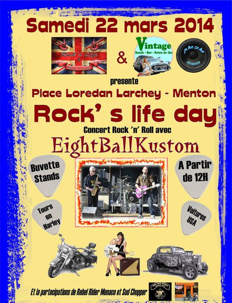 "Menton: Concert Rock'n roll avec ""Eight Ball Kustom"" le 22 mars de 12h à 18h"