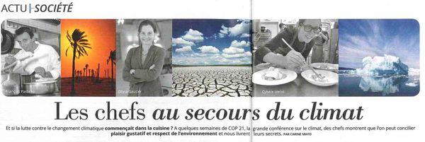 Interview d'Olivia Gautier dans Femme Actuelle n°1620 &quot&#x3B;les chefs au secours du climat&quot&#x3B;