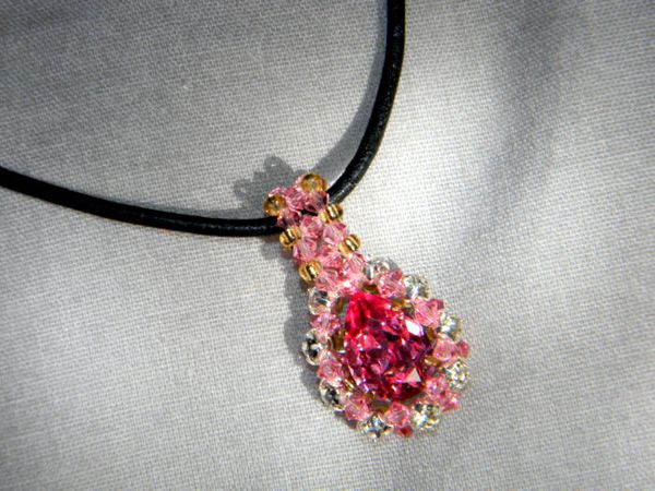 Pendentif &quot&#x3B;Princesse Rose&quot&#x3B; (Swarovski Elements)