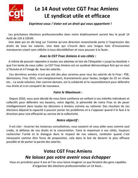 Le 14 Aout votez CGT Fnac Amiens  LE syndicat utile et efficace