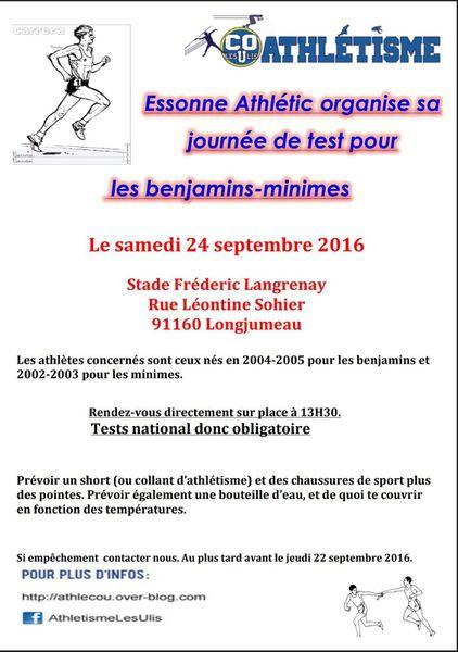 Test pour tous les Benjamins-Minimes du Cou athlé le samedi 24 septembre à Longjumeau.