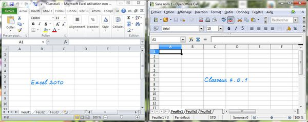 Interfaces d'Excel & de Classeur