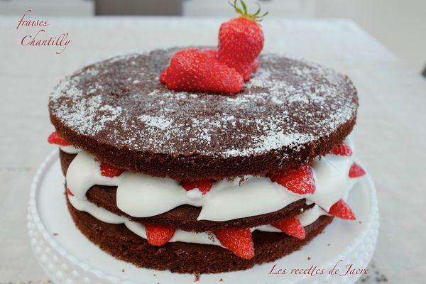 Gâteau aux fraises/chantilly