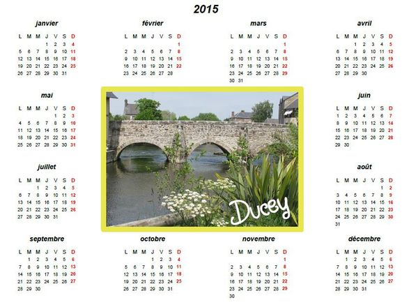 Calendrier 2015 Ducey