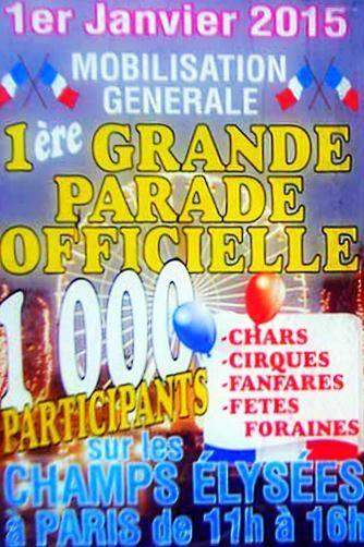 Grande Parade sur les Champs-Elysées le 1er janvier 2015