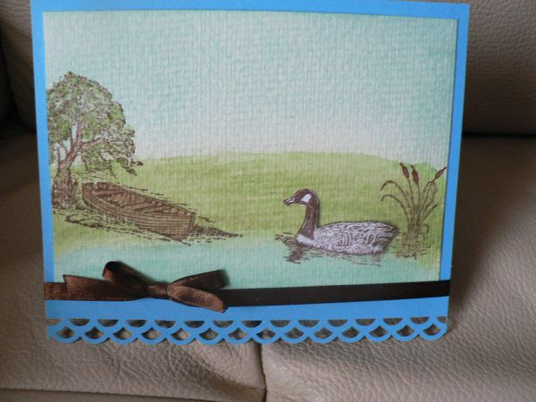 carte avec tampon STAMPIN'UP bord de lac