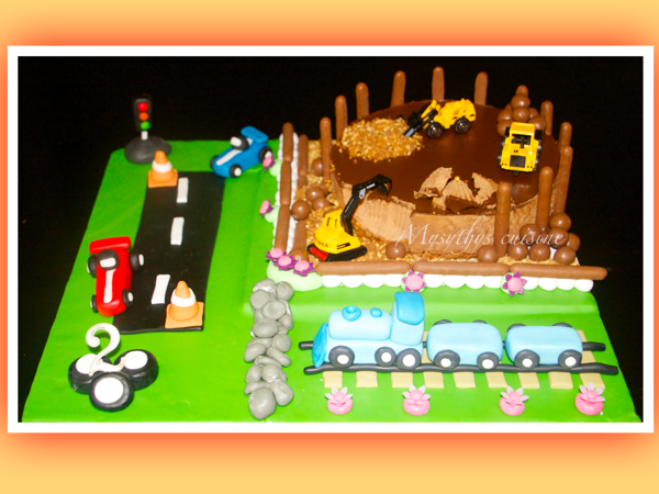 Gâteau Thème Chantier Circuit Et Train Pour Lanniversaire De Mon Fils