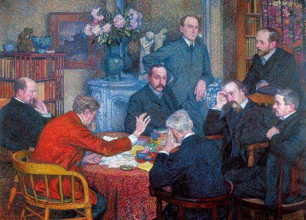 Théo van Rysselberghe : La lecture par Emile Verhaeren, red jacket&#x3B; around him friends André Gide, Henri Cross, Maurice Maeterlinck, Félix Fénéon etc.