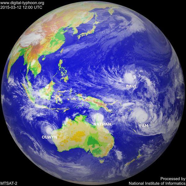 Wetterlage über Ozeanien und Australien am 14. März Quelle:Metoffice