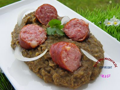 saucisses de montbeliard a la creme de lentilles blondes thermomix blog cuisine thermomix. Black Bedroom Furniture Sets. Home Design Ideas
