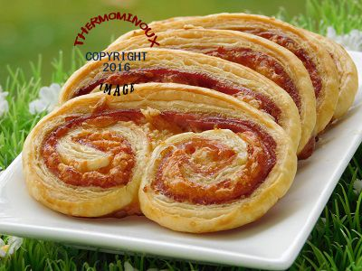 PALMIERS JAMBON FROMAGE A LA MOUTARDE (thermomix)