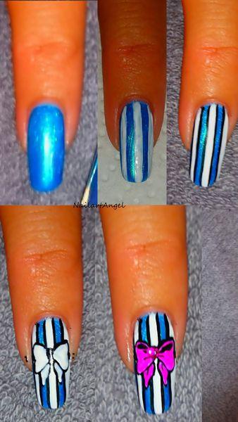 Tutoriel nail art nœud papillon et rayures (résultat très girly)