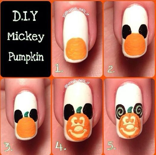Tutoriel nail art citrouille mickey