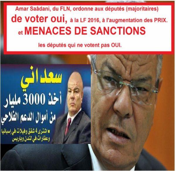 FLN, Amar Saâdani ordonne aux députés (majoritaires) de voter OUI à la LF 2016, et menaces de sanctions.