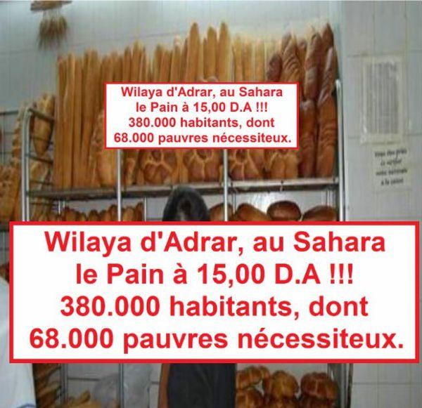 Adrar, 15 D.A le Pain! الحكومة الجزائرية تسمح في مواطنيها في الصحراء