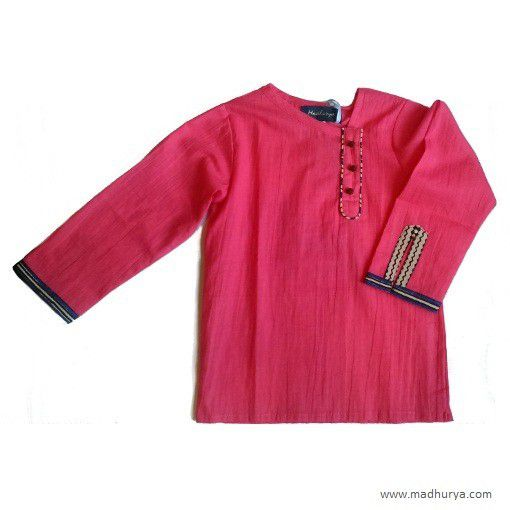 Bean red kurta in cotton with a crush finish made under the AyurFab clotheline.