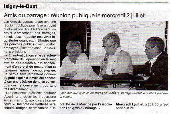 DANS VOS AGENDAS : REUNION D'INFORMATION PUBLIQUE DES AMIS DU BARRAGE.