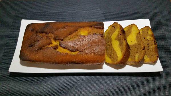 CAKE MARBRE A LA COURGE BUTTERNUT, NOISETTE ET PRALINOISE