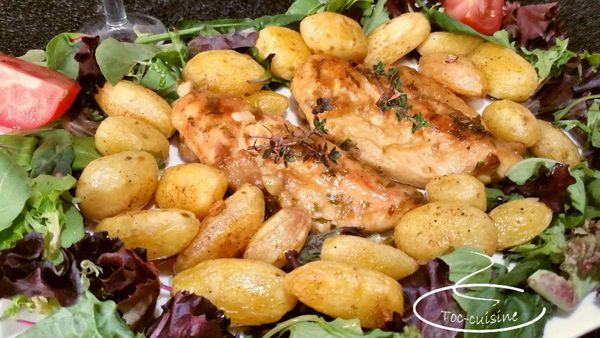 poulet à l'ail à l'espagnole et ses pommes de terre au pimenton