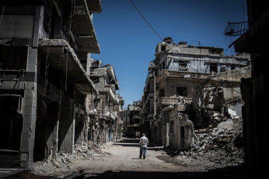Dans la ville de Homs, tenu par les rebelles syriens, en juin 2014. Depuis, la cité a aussi subi des bombardements de l'aviation russe / CC Pan Chaoyue