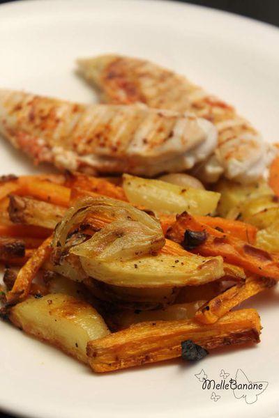 Aiguillette farcie et légumes rôtis