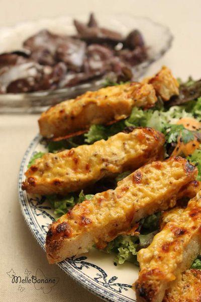 Salade tiède de foie de volaille et toasts gallois au fromage - Jamie Oliver