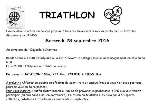 TRIATHLON DECOUVERTE MERCREDI 28 SEPTEMBRE 2016