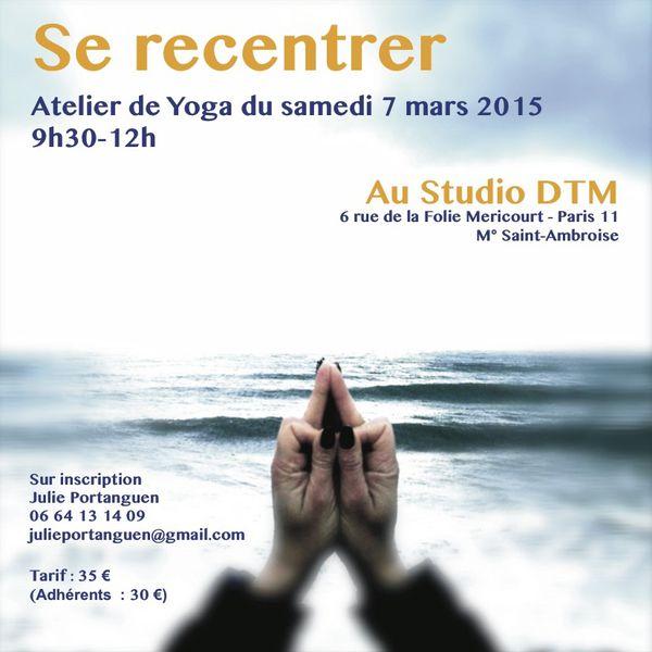 Atelier de yoga &quot&#x3B;SE RECENTER&quot&#x3B;